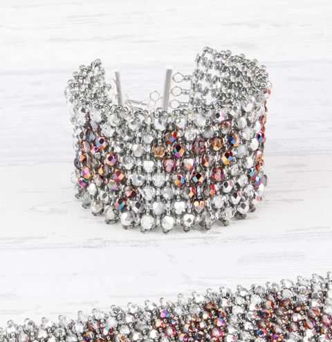 Crystal Heart Netted Cuff