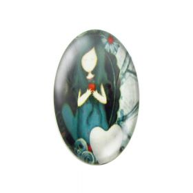 Glass cabochon with graphics oval 18x25mm PT1495 / blue / 2pcs