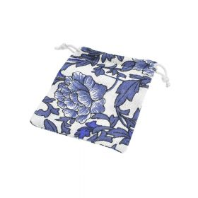 Linen bag with print / 10x13cm / blue / 4pcs