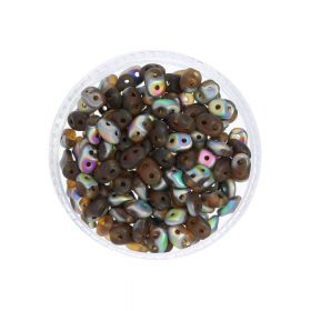 SuperDuo™ / glass beads / 2.5x5mm / Matte Vitral / Smoky Topaz / 10g / ~140pcs