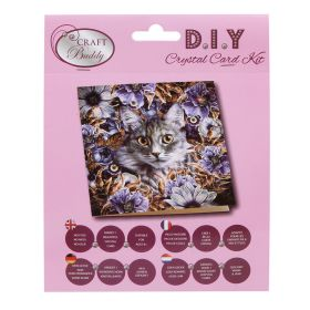 Beads Direct 'Cat and Flowers' Crystal Card Kit