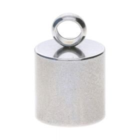 End cap / surgical steel / 11x7x7mm / silver / hole 6mm / loop 2.5mm / 2pcs