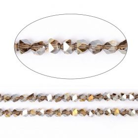 """Grey AB Essential Crystal 6mm Faceted Hexagon Beads 20"""" Strand"""