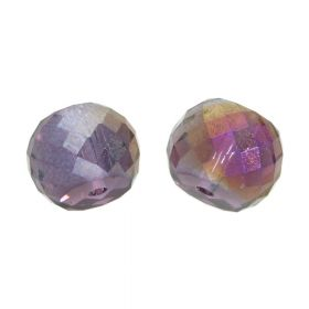 CrystaLove™ crystals / glass / faceted round / 6x8mm / violet / iridescent / 6pcs