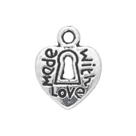 Heart - Made with love / charm pendant / 12.5x10x1.5mm / silver / 8pcs