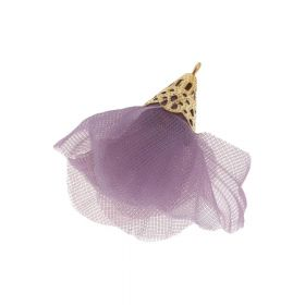 Tulle flower / with openwork tip / 30mm / Gold Plated / heather / 2 pcs