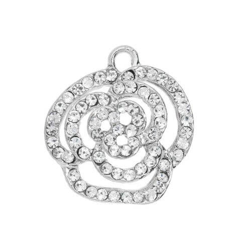 Glamm ™ Rose / charm pendant / with zircons / 19x21mm / bright silver plated / 1 pcs