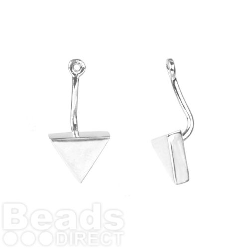 Sterling Silver 925 Triangle Earring Jacket 9x18mm 1xPair