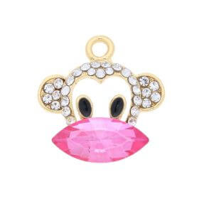 Glamm ™ Monkey / charm pendant / with zircons / 21x20x6mm / gold plated / Pink / 1pcs