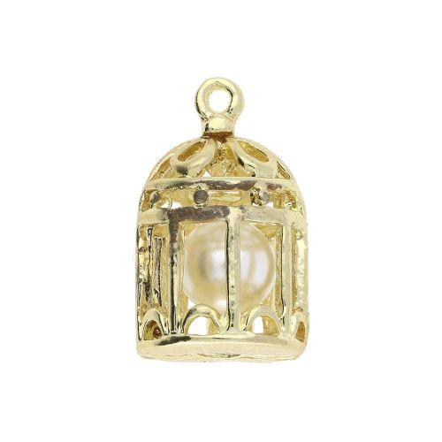 Cage with pearl / charm pendant / 20x12x11mm / gold / 1pcs