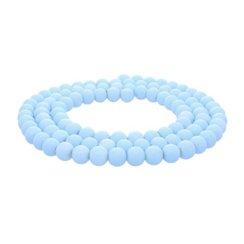 Coated beads / with a defect / round / 8mm / baby blue / 105pcs
