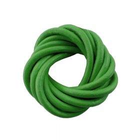 Leather cord / natural / round / 4mm / green / 2m