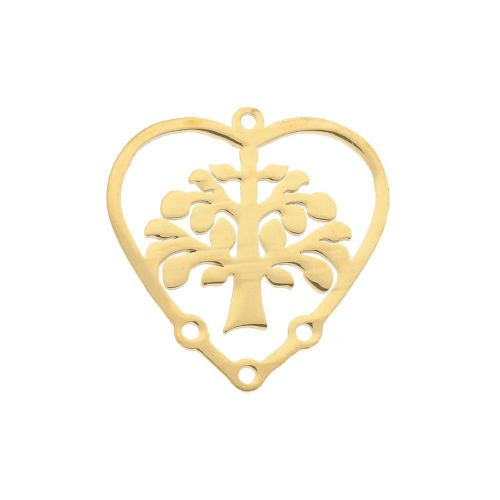 Tree / heart / connector / surgical steel / 20x19.5x1mm / gold / 1pcs