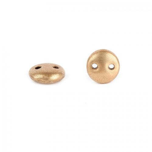 """X"" Preciosa Twin Hole Round Beads Matte Gold 6mm Pk20"