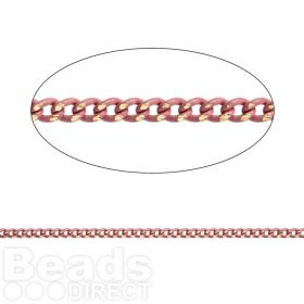Pink/Gold Plated Brass Thin Curb Chain 1.45x1.8mm 1metre