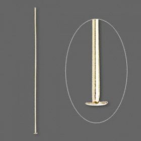 Gold-plated headpins 0.7x60mm. Pk 100