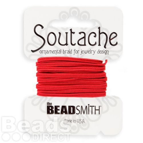 Red Rayon Soutache Cord Beadsmith 3yds