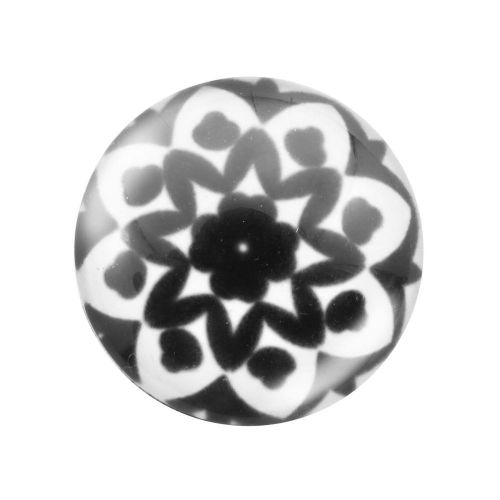 Glass cabochon with graphics 12mm PT1549 / black and white / 4pcs