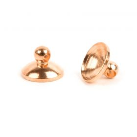 Rose Gold Plated Brass Cup Ends 6mm (7mm Space) Pk10