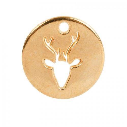 Gold Plated Zamak Cut Out Deer Head Charm 18mm Pk1