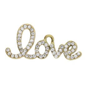 Glamm ™ Love / charm pendant / with zircons / 13x29x2mm / gold plated / 1pcs
