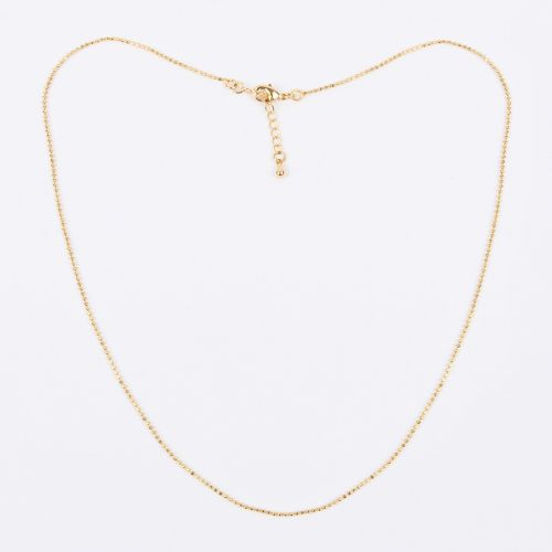 Gold Plated Faceted Ball Chain w/Clasp & Ext 1mm 45-48cm Pk1