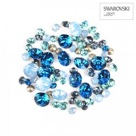 1088 Swarovski Crystal Chaton Blue Mix Assorted Sizes 2g