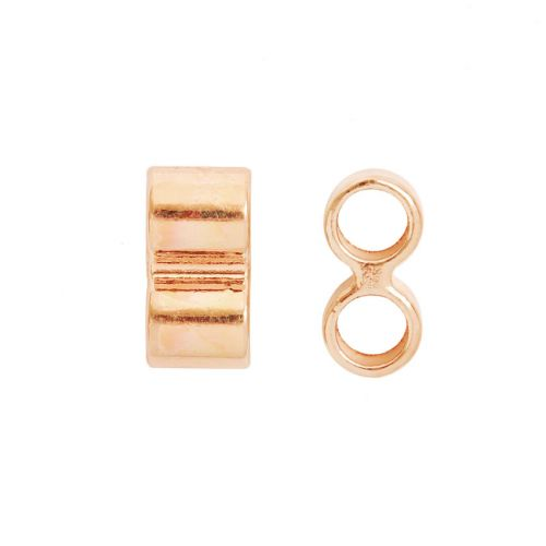 X-Rose Gold Plated 2 Hole Bead 7x14mm 5mm Hole Pk2
