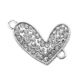 Glamm™ / heart / connector / 45 zircons / 23x15mm / silver / 1pcs
