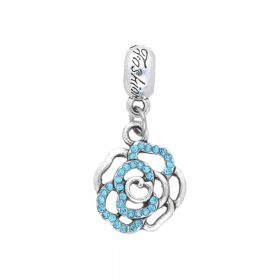 Glamm ™ Rose / charm pendant / with zircons / 32x15x3mm / silver plated / Turquoise / 1pcs