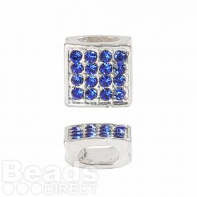 Premium Shamballa Fashion Blue Crystal Slider Bead 8x8mm PK1