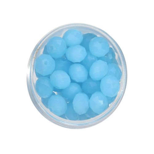 CrystaLove™ crystals / glass / rondelle / 4x6mm / milky blue / lustered / 86pcs