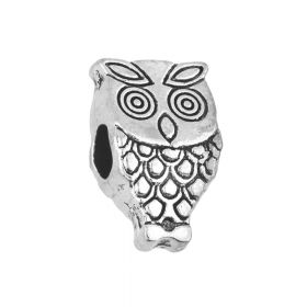 Owl / spacer / 8x14x6mm / silver / 3.5mm hole / 2pcs