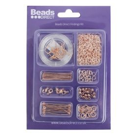 Beads Direct Rose Gold Plated Findings Kit with Chain and Elastic