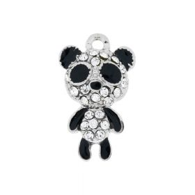 Glamm ™ Panda / pendant charms / with cubic zirconia / 22x13x5mm / silver plated / crystal / 1pcs