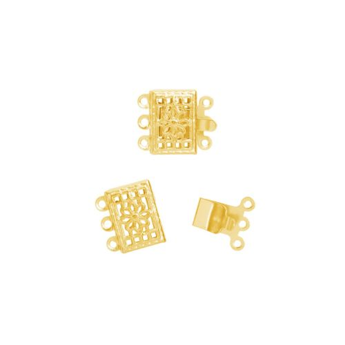 Gold Plated Filigree Box Clasp Set 3 Strand 8x10mm Pk1