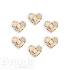 2808 Swarovski Crystal Heart Hotfix 6mm Light Silk M Pk6