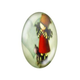 Glass cabochon with graphics oval 13x18mm PT1496 / orange / 2pcs