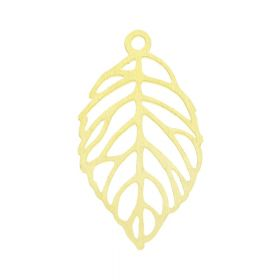 Leaf / surgical steel / pendant / 20x11x1mm / gold / 1pcs