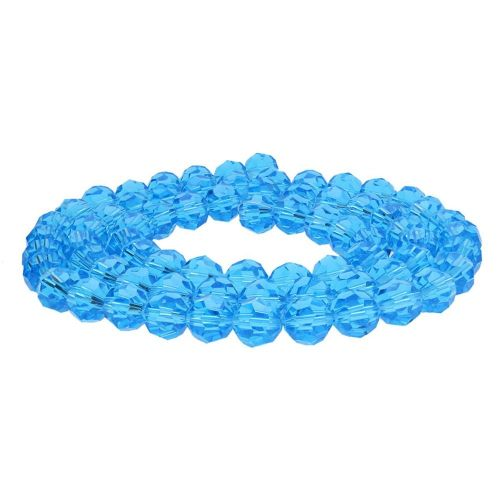 CrystaLove™ crystals / glass / faceted round / 8mm / azure / transparent  / 65pcs