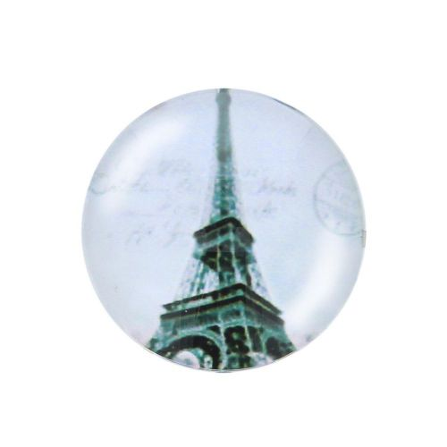 Glass cabochon with graphics K25 PT1269 / grey / 25mm / 2pcs