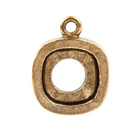 Nunn Design Antique Gold Open Back Square Bezel Charm Swarovski 12mm 4470 Square Pk1