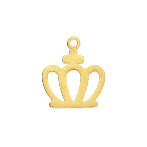 Crown / charm / surgical steel / 11x10mm / gold / 2pcs