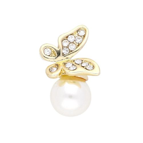 Glamm ™ Butterfly with  pearl / charm pendant / 13 zircons/ 26x15x12mm / gold plated / 1pcs