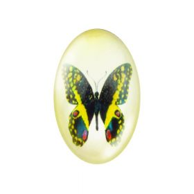 Glass cabochon with graphics 13x18mm PT1527 / black and yellow / 2pcs
