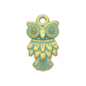 Owl / charm pendant / 20x11x2.5mm / antique gold - aqua / 4pcs