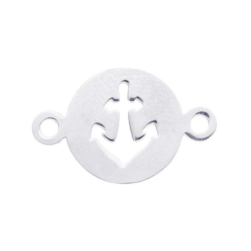 Anchor / connector / surgical steel / 22x14x1 / silver / 1pcs