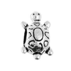 Turtle / spacer / 10x15x8.5mm / silver / 4.5mm hole / 4pcs