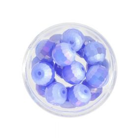 CrystaLove ™ / frosted / faceted glass crystals / round / 8mm / blue / opalescent / 10pcs