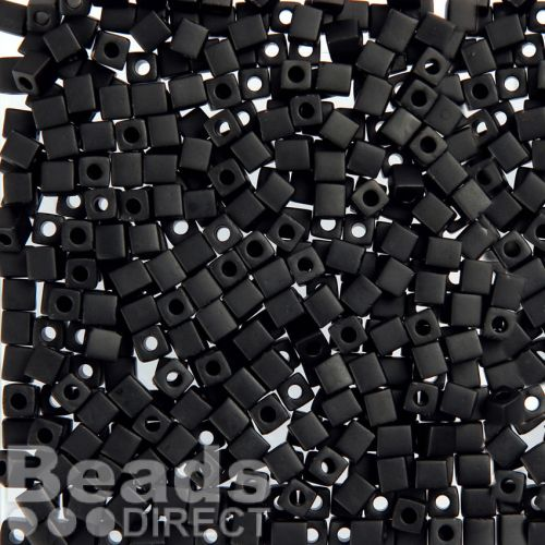 Miyuki Cube Beads 4mm Opaque Frosted Black 10g